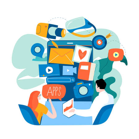 Mobile applications development concept flat vector illustration. Smartphone interface with apps design for mobile and web graphics Illustration