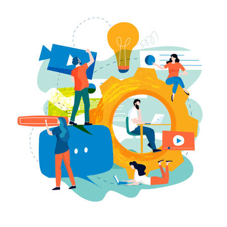 Website and mobile website development, SEO optimization, mobile apps and business solutions vector illustration
