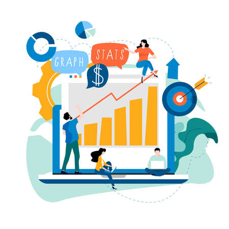 Data analysis, seo analytics, business data review, business graph statistics, financial research report, financial infographics flat vector illustration design for mobile and web graphics