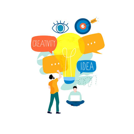 Idea, brainstorming, creativity, creative solutions, education, learning and thinking, content development, project and research flat design for mobile and web graphics vector illustration