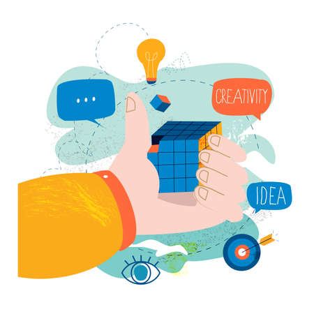 Problem solving, creative solution, innovative business approach, brainstorming and unique ideas and skills flat vector illustration design for mobile and web graphics