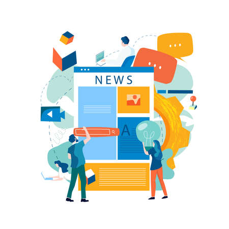Online news, news update, news website, electronic newspaper flat vector illustration design. News webpage, information about activities, events, company announcements and informations