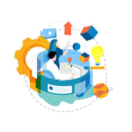 Digital content management, creating engaging online content, online news flat vector illustration design for mobile and web graphics. Website optimization, web content development concept Illustration
