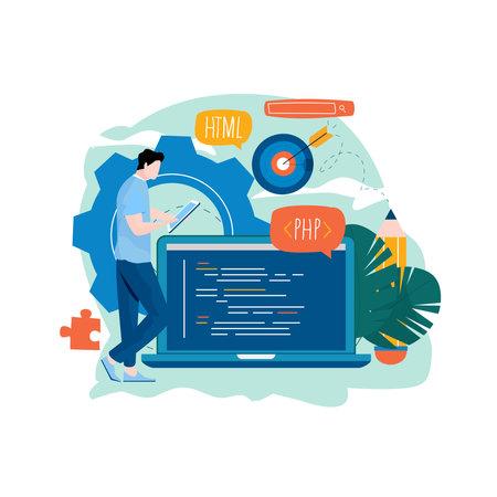 Coding, programming, application and website development flat vector illustration design for mobile and web graphics Illustration