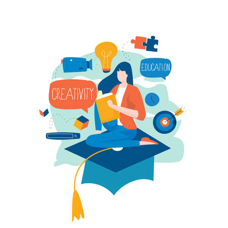 Education, distance education, internet studying, e-learning, remote learning flat vector illustration. Online classes, training courses, tutorials, home learning design for mobile and web graphics