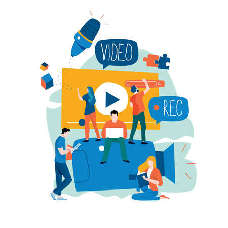Video production, video footage editing and montage, creating video content flat vector illustration design for mobile and web graphics
