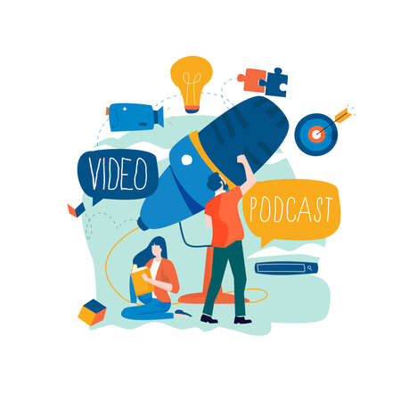 Podcast recording, audio podcast, online show, live streaming, broadcast concept flat vector illustration