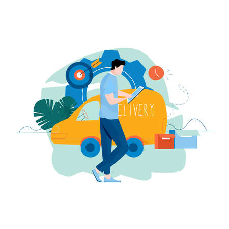 Delivery services, fast home delivery, courier, cargo shipment flat vector illustration design. Shipping order, fast relocation , transportation design for mobile and web graphics