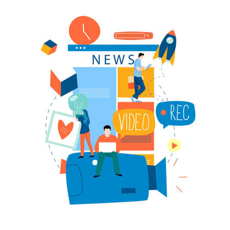 Online news content, news update, news website, electronic newspaper flat vector illustration design. News webpage, information about activities, events, company announcements and information Vecteurs