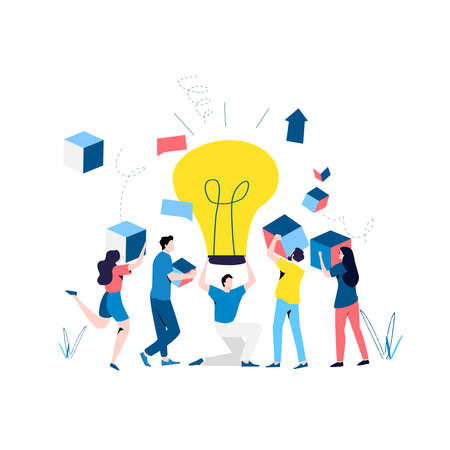 Team work, cooperation, partnership, corporate development, problem solving, creative solutions, innovative business approach, brainstorming, unique ideas and skills flat vector illustration