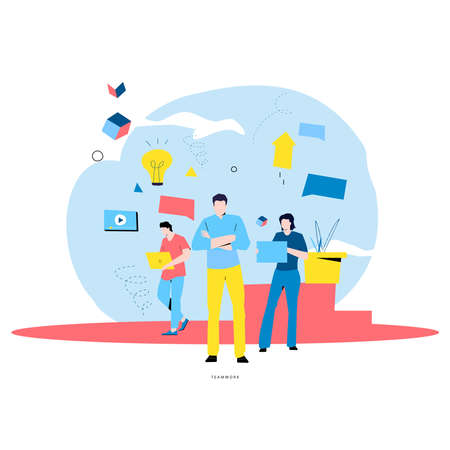 Team work and team building, corporate organization and partnership, business leadership, problem solving, innovative business approach, brainstorming, unique ideas and skills flat vector illustration
