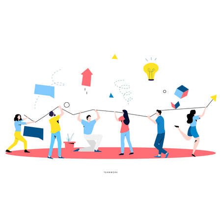 Team work, cooperation, corporate organization, partnership, business graph growth, leadership, innovative business approach, unique ideas and skills, people holding arrow flat vector illustration Illustration