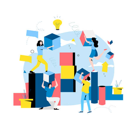 Team work and team building, corporate organization and partnership, problem solving, creative solution, innovative business approach, brainstorming, unique ideas and skills flat vector illustration