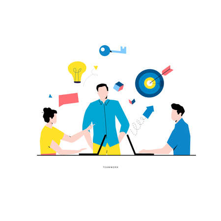 Business meeting flat vector. Business people discussion, team work, business people working together, innovative business approach concept for mobile and web graphics