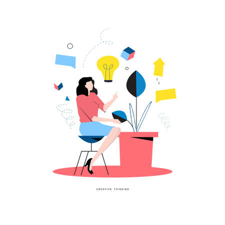 Business advisor, consulting, professional business help, problem solving, creative solutions, innovative business approach, brainstorming, unique ideas and skills flat vector illustration