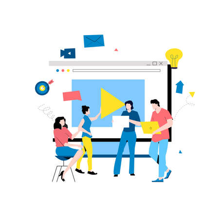 Video streaming, video conference, business webinar flat vector illustration design. Online video presentation, business and educational training, business people meeting