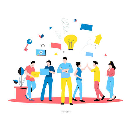 Business people teamwork, coworkers, innovative business approach flat vector illustration for mobile and web graphics. Professional office people working concept