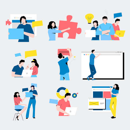 Set of flat design business concept illustrations. Collection of man and woman taking part in business and corporate activities, team work, presentation, dialog, discussion, business meeting vector