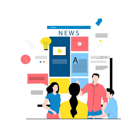 Online news content, headlines, news update, news website, electronic newspaper flat vector illustration. News webpage, information about activities, events, company announcements and information