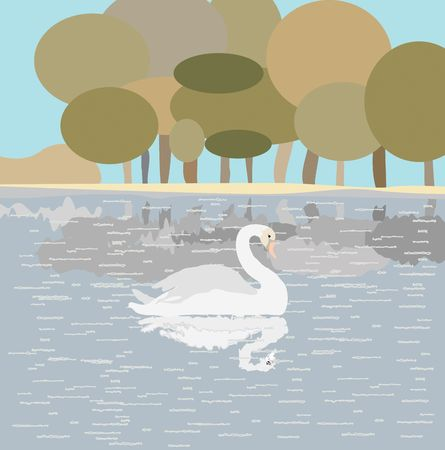 Illustration with white swan on a lake. illustration