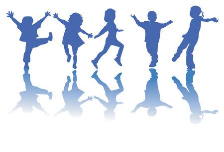Happy children silhouettes Vector
