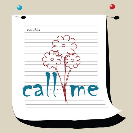 call me: Call me note for desktop- with place for your text. vector art