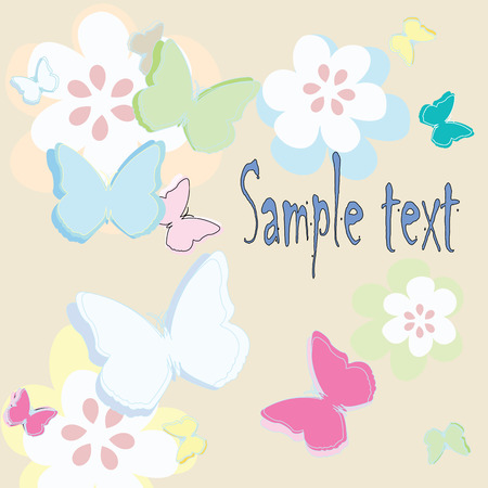 Celebration card with butterflies and flowers and place for your text- vector art Stock Vector - 5358799