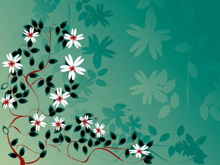Stilized summer blossom appe tree foliage; illustration on green background Vector