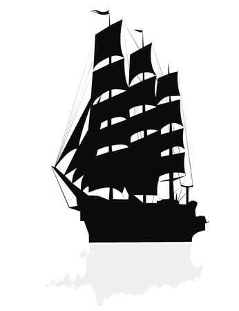 Silhouette of a brigantine. Vector