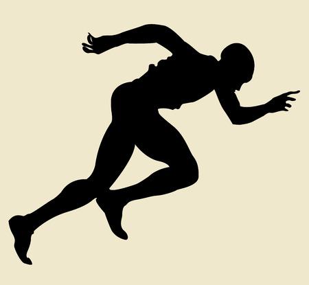 Vector silhouette of a runner. Vector