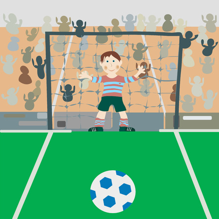 Illustration of a young boy on a soccer field. Vector