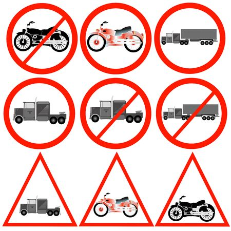 Illustrated road signs with truck and motorbike. photo