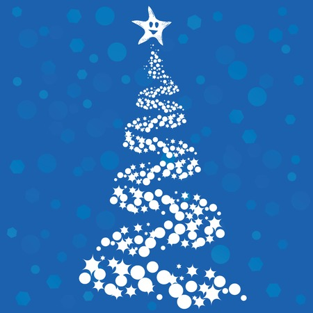 Abstract Christmas tree on blue background Stock Vector - 5514140