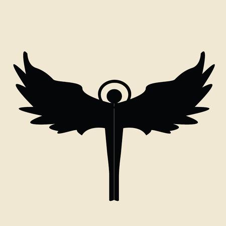 silueta de angel: Angel silueta sobre un fondo beige, ilustraci�n vectorial