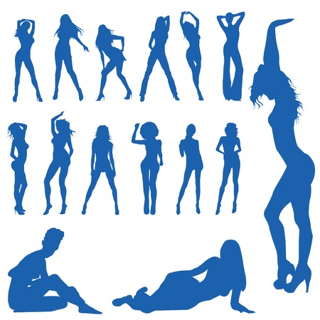 sexes: Beautiful, hot and sexy girl vector silhouettes (vector) Illustration