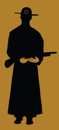 Cowboy silhouette on brown, vector illustration Vector
