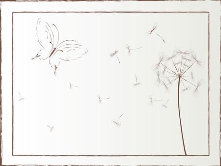 thistles: Dandelion and butterfly framed illustration, vector art