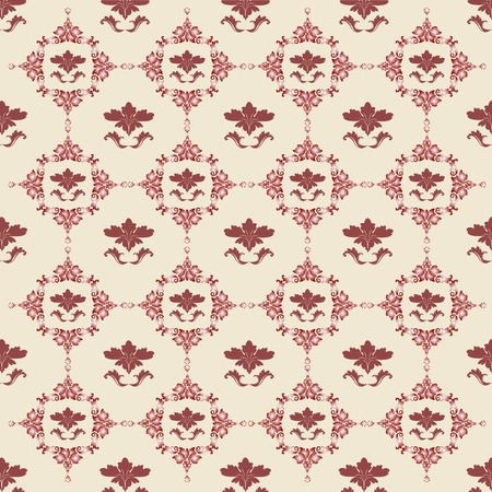 Vector floral background in red, Damask design