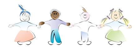 Happy kids holding hands, watercolor style vector Stock Vector - 5540155