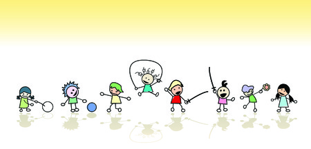 Kids playing in the sun, vector art Vector Illustration