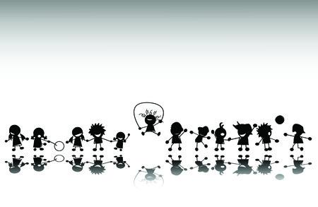 kind silhouet: Groep van kinderen spelen, vector silhouet