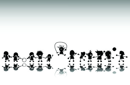 Group of kids playing, vector silhouette Vector