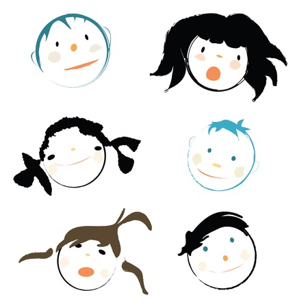 kinder: Children faces on white background, vector illustration