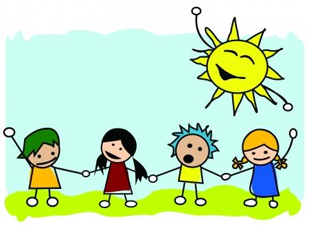 Happy kids illustration, vector art Vector
