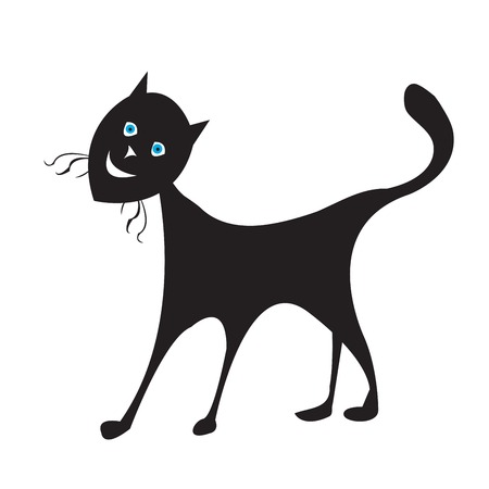 Blue eyes cat silhouette, isolated vector object on white background Stock Vector - 5775224