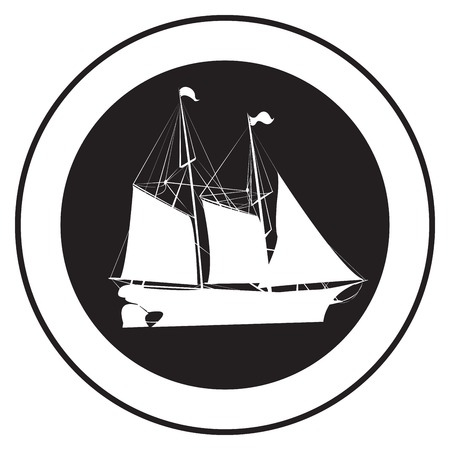 Emblem of an old ship, vector stamp Vector