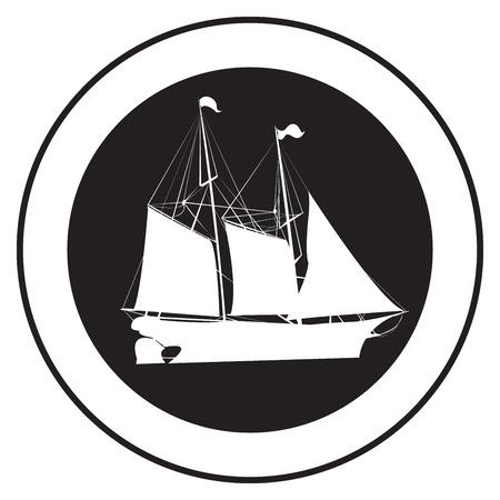 Godło starym statku, wektor pieczęć