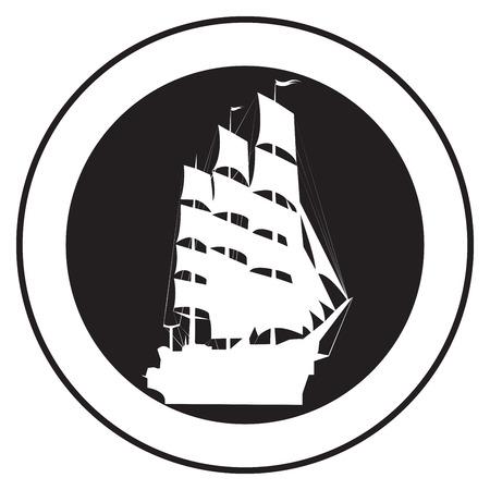 vecchia nave: Emblema di una vecchia nave, vettore timbro  Vettoriali