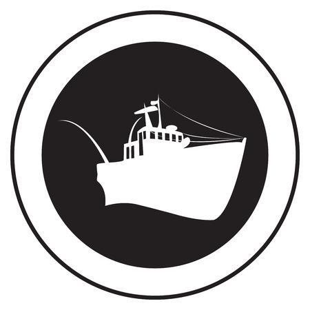 Emblème d'un vieux navire, timbre de vecteur