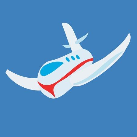 avi�n juguete: Avi�n de juguete de vector, infantil de dibujo sobre fondo azul claro